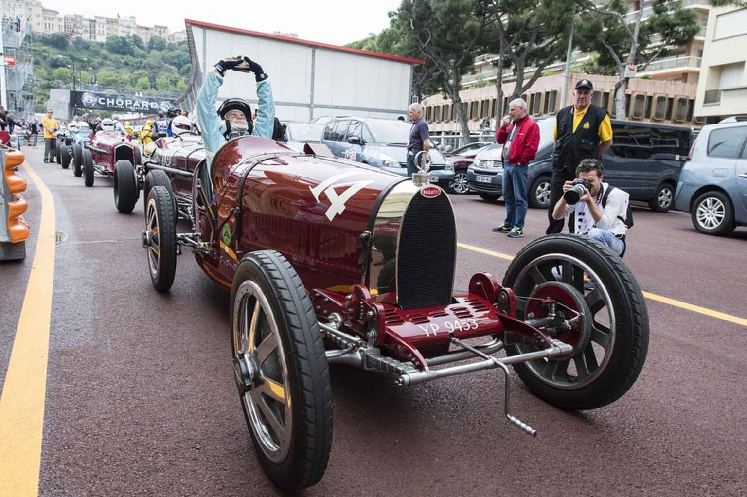 Vintage cars in starting position for the Grand Prix de Monaco Historique - the legendary race in which historical Formula I cars from the 1920s to 1985 tear around the hairpin bends of Monte Carlo.