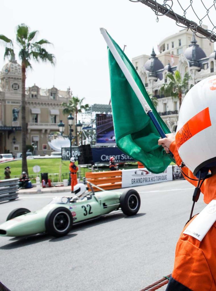 A vintage car intends to be quick off the line at the legendary Grand Prix de Monaco Historique race in Monte Carlo.