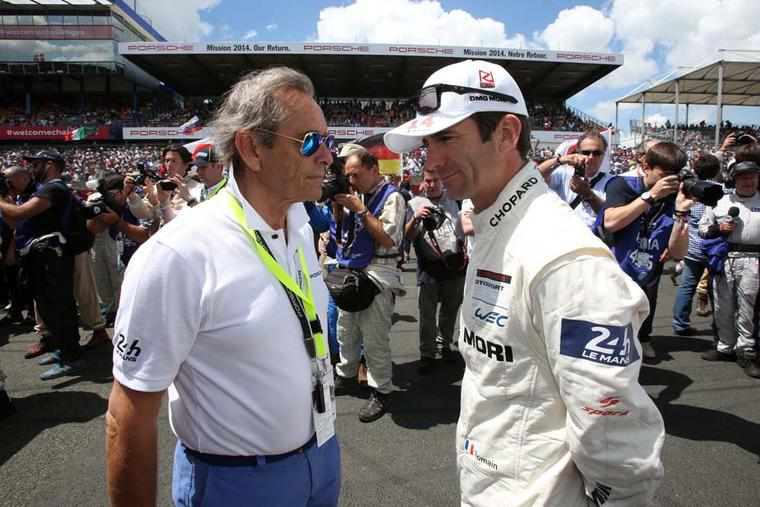 Romain Dumas and Mr Le Mans, aka Jacky Ickx, longstanding Chopard ambassador and six-time winner of the Le Mans race at the wheel of a Porsche, behind the scenes at the 2014 Le Mans race.