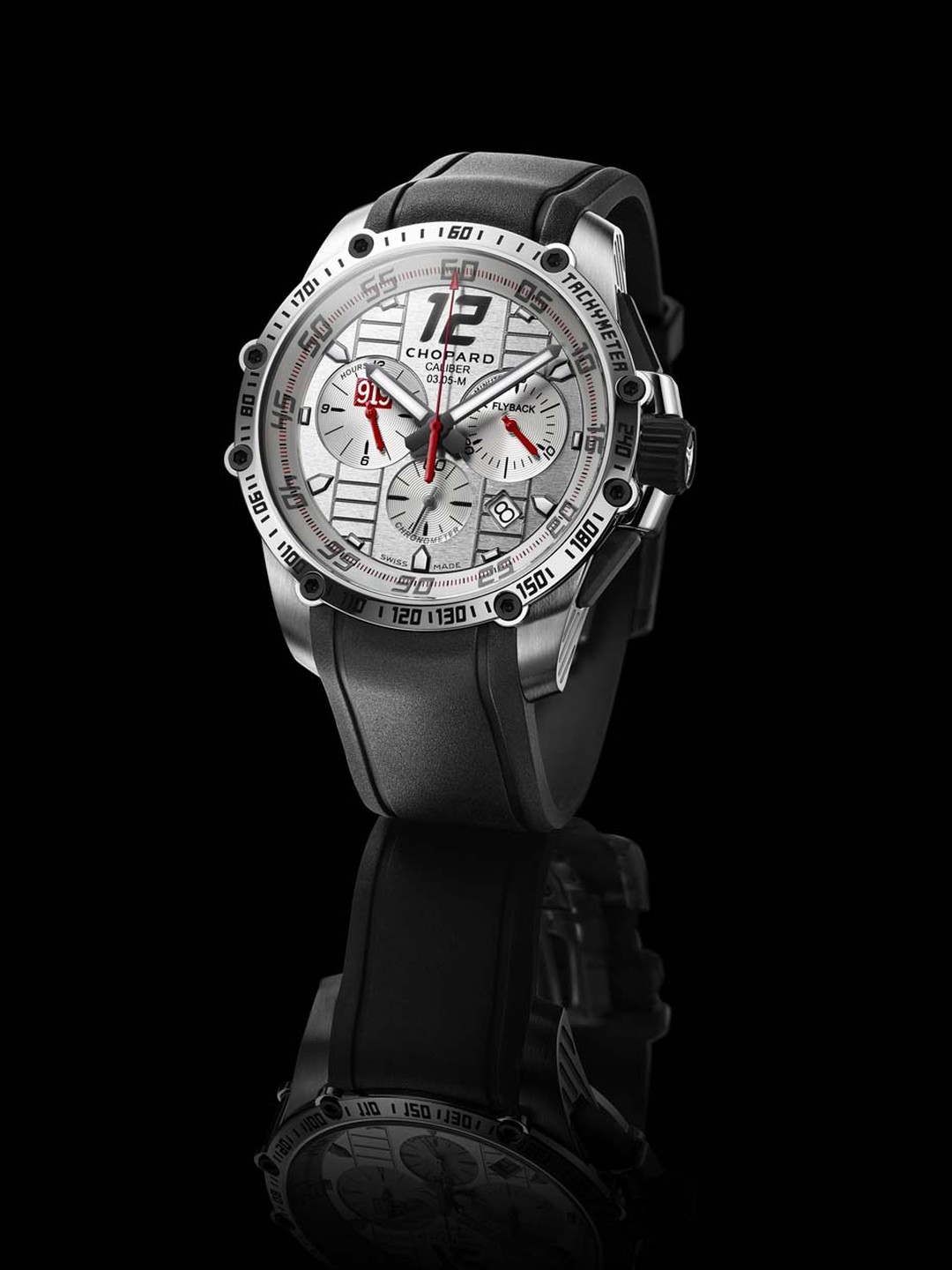 Limited to 919 pieces, the Chopard Superfast Chrono Porsche 919 Edition watch features the red Porsche 919 logo at 9 o'clock.
