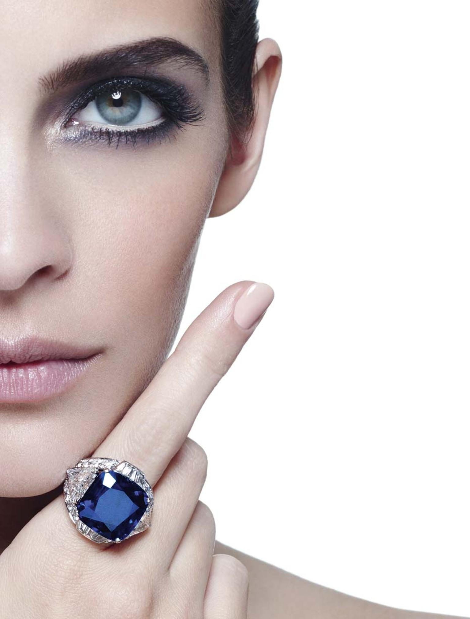 Cartier's Bleu-Bleuet platinum ring was designed around a stunning, cornflower blue 29ct cushion-shaped sapphire from Kashmir.