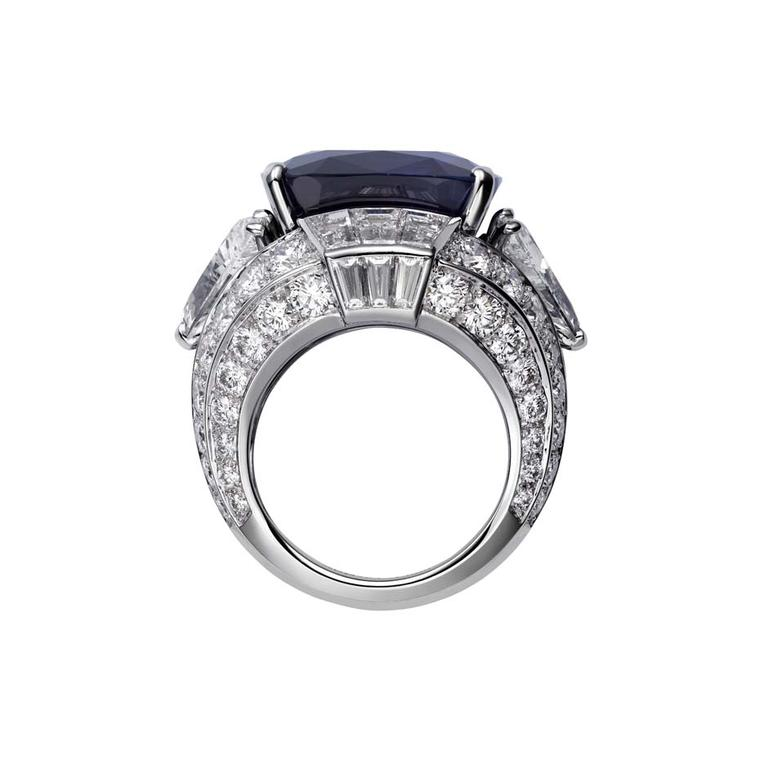 The 29ct cushion-shaped Kashmir sapphire set into Cartier's Bleu-Bleuet ring, from the Royal collection, is flanked by two triangular-shaped diamonds at just over 2ct each.