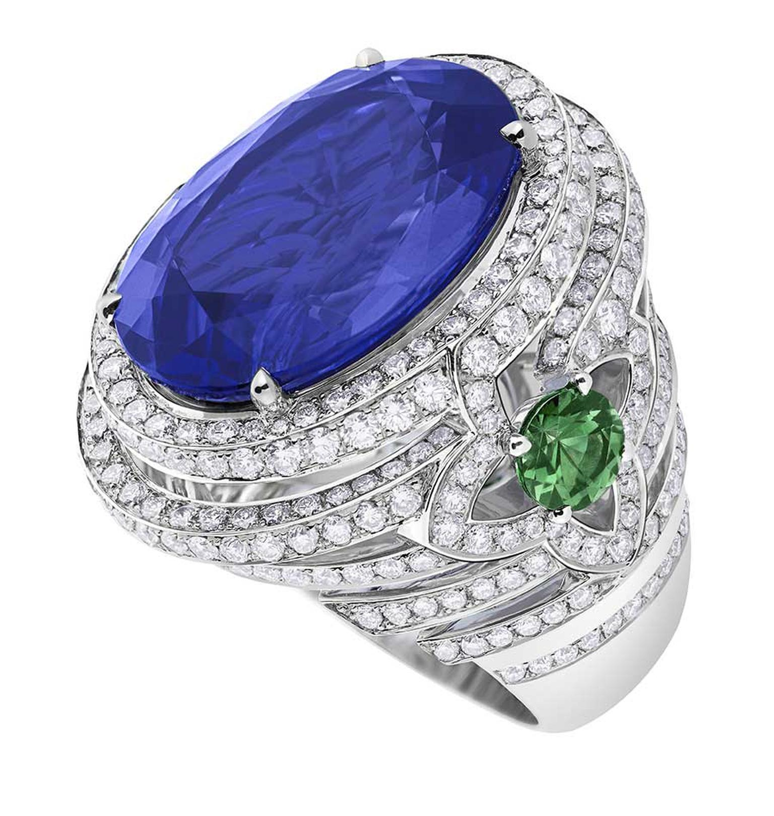 Orangerie des Tuileries ring from the Escale á Paris collection of jewels by Louis Vuitton, featuring a large central tanzanite, green tsavorites and diamonds.
