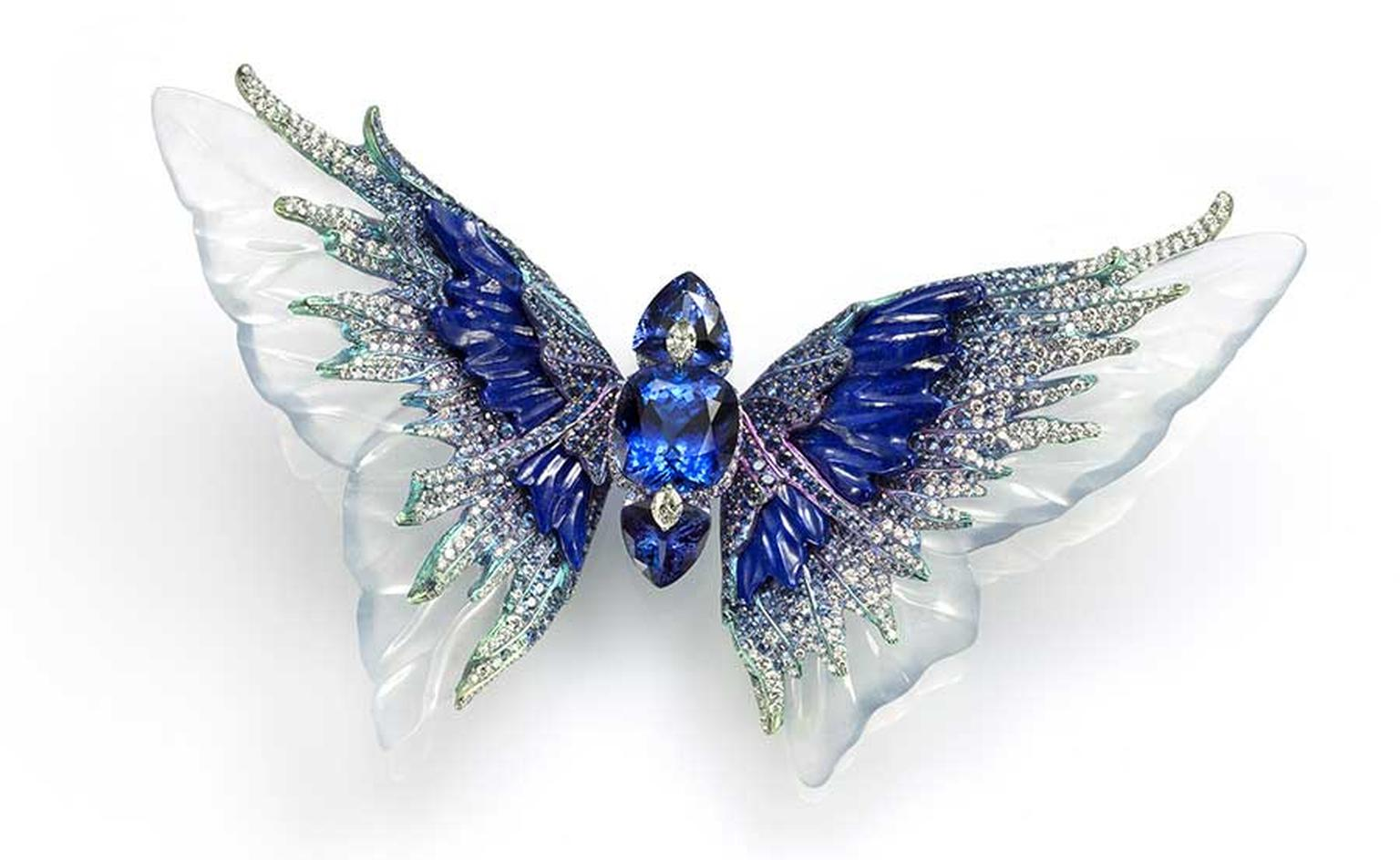Wallace Chan's Whimsical Blue brooch, from the Fluttery series, features three tanzanites set with diamonds, carved icy jadeite, lapis lazuli and sapphires.