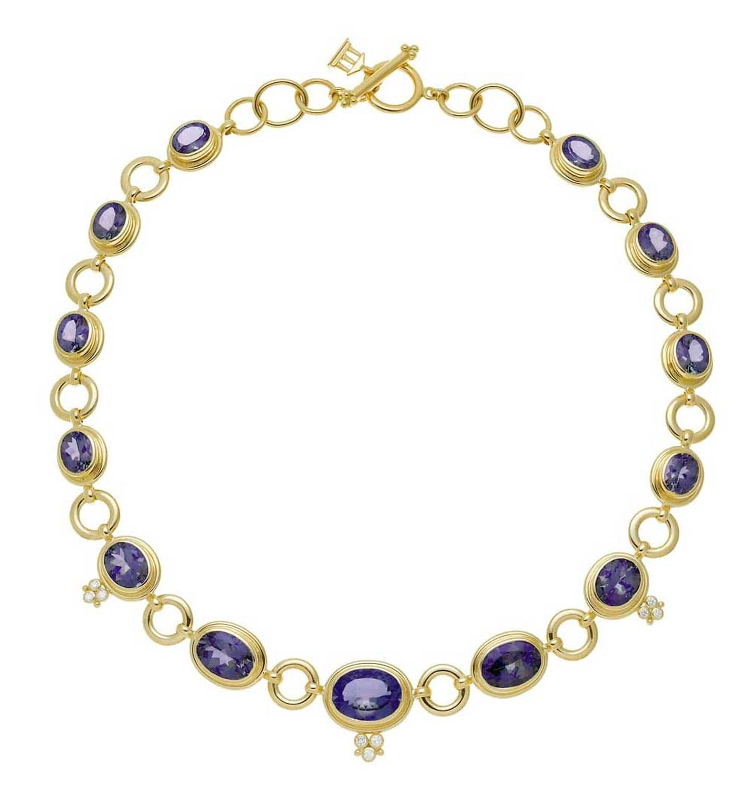 Temple St. Clair gold Classic necklace featuring diamonds and faceted tanzanite.