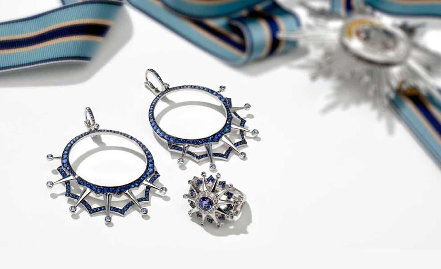 Garrard Star and Garter collection blackened white gold and sapphire drop hoop earrings and white gold ring featuring diamonds, sapphires and tanzanites.