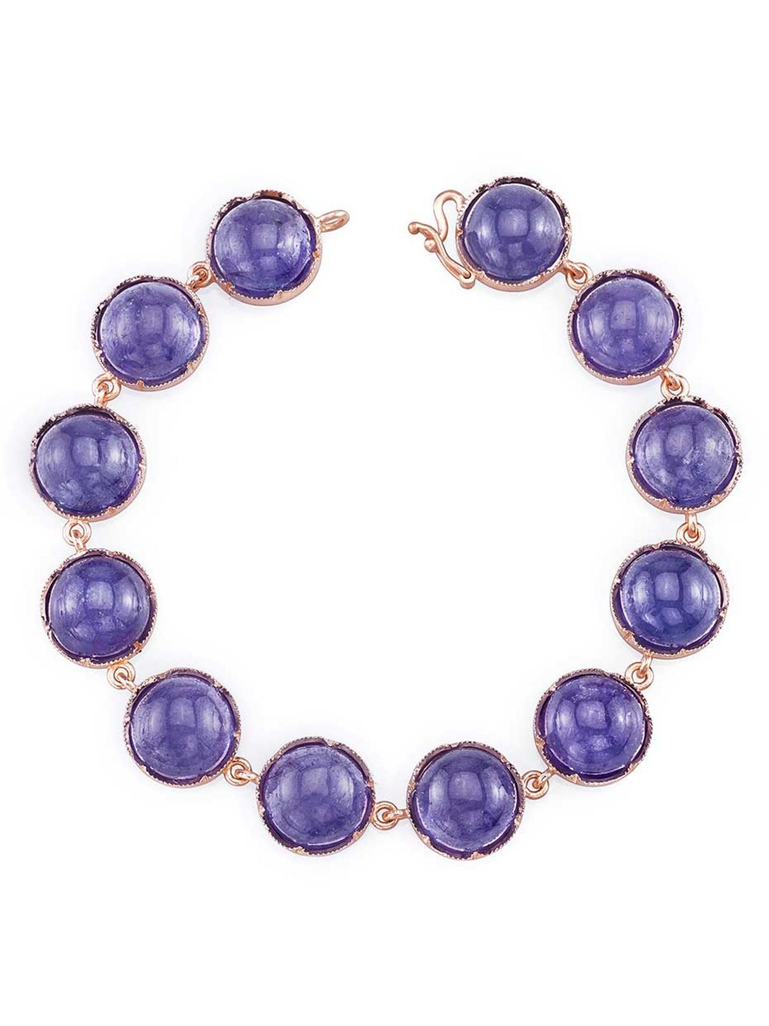 Irene Neuwirth cabochon tanzanite bracelet in rose gold, available at Ylang23.com.