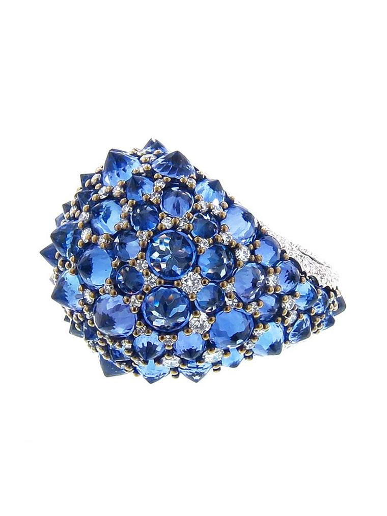 Arunashi handmade reverse tanzanite ring with diamonds. Available at Ylang23.com.
