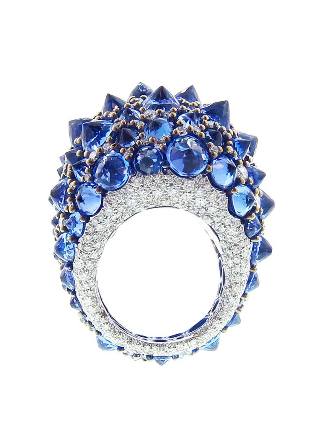 Available at Ylang23.com, Arunashi's white gold ring features a total of 29ct of inverted tanzanite stones scattered amongst 4.36ct of diamonds.
