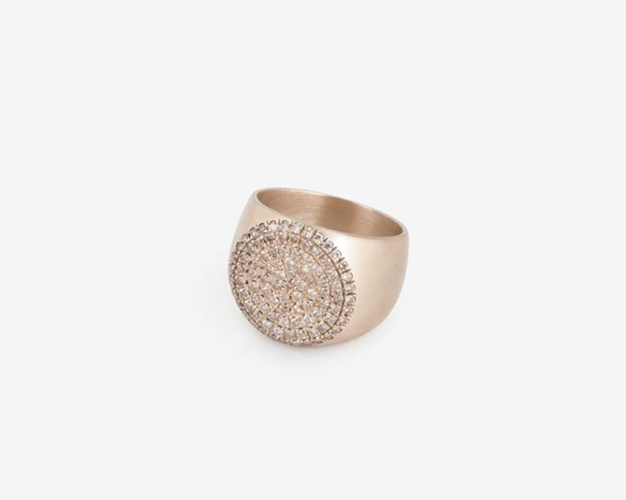 Dina Kamal PNKYRNG collection gold ring with white and champagne coloured diamonds.