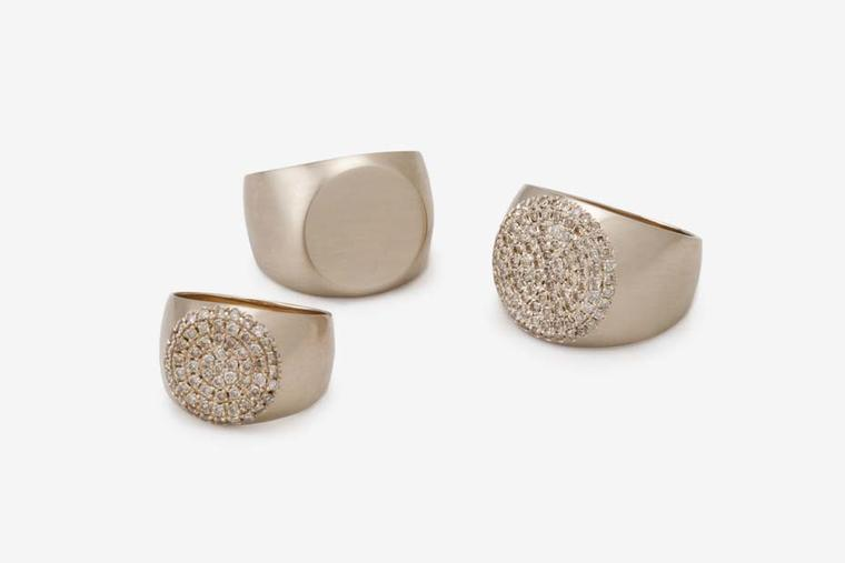 Dina Kamal's PNKYRNG collection of signet rings are available in soft brushed or polished gold and with or without diamonds.