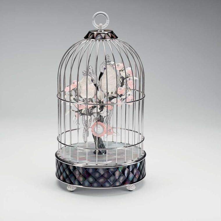 Chanel's Birdcage combines expertise in watchmaking and jewellery featuring a cockatoo sculpture made with mother-of-pearl marquetry and stone-setting.