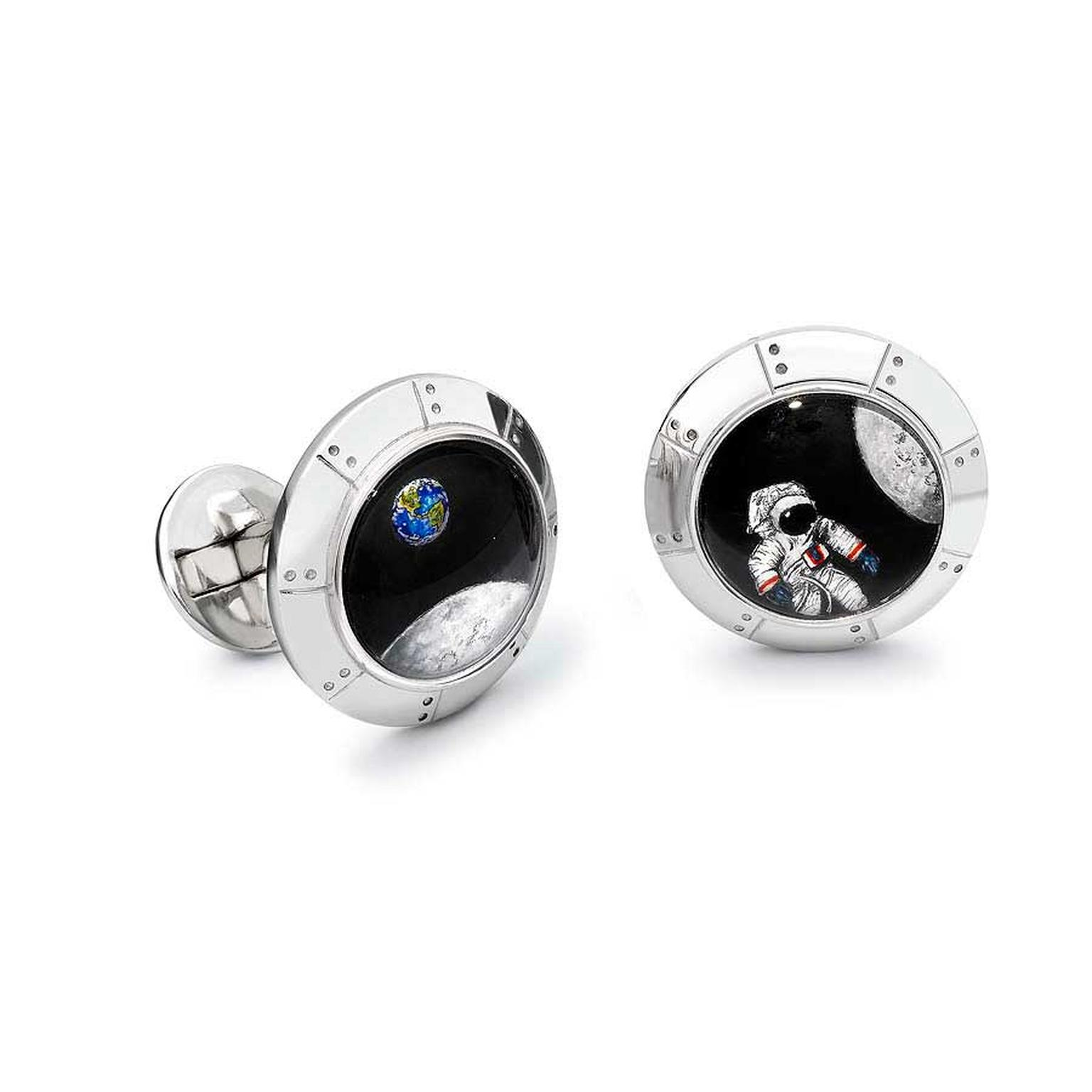 Theo Fennell Essex Crystal Moon Safari Cufflinks (£9,850). Essex Crystal is a process where rock crystals are carved and engraved from behind and then hand painted to give a 3D appearance.