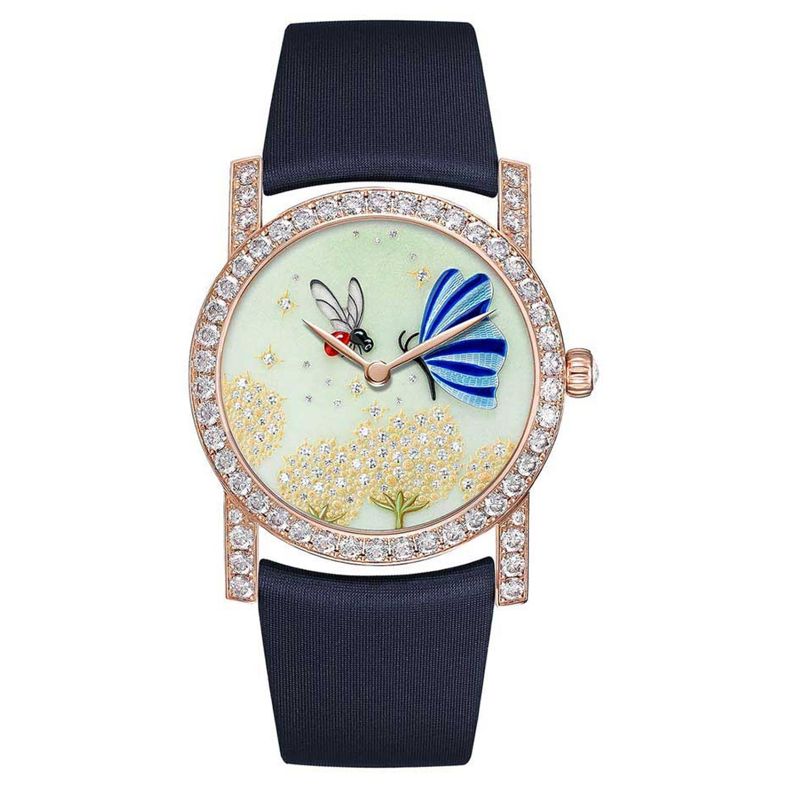 Chaumet Attrape-moi…si tu m'aimes collection watch featuring a bee with wings made out of rock crystal and a butterfly, both hand-painted on mother of pearl, hovering over golden dandelion flowers set with brilliant-cut diamonds.