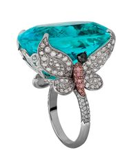 Jacob & Co. tourmaline ring featuring a 48.27ct natural Paraiba tourmaline the colour of a tropical sea, flanked by two butterflies set with white and pink diamonds.