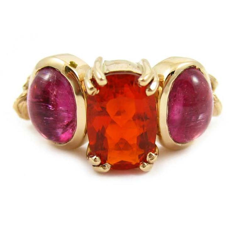 K. Brunini Chains of Love Twig ring in rose gold with Mexican fire opal and pink tourmaline cabochons.