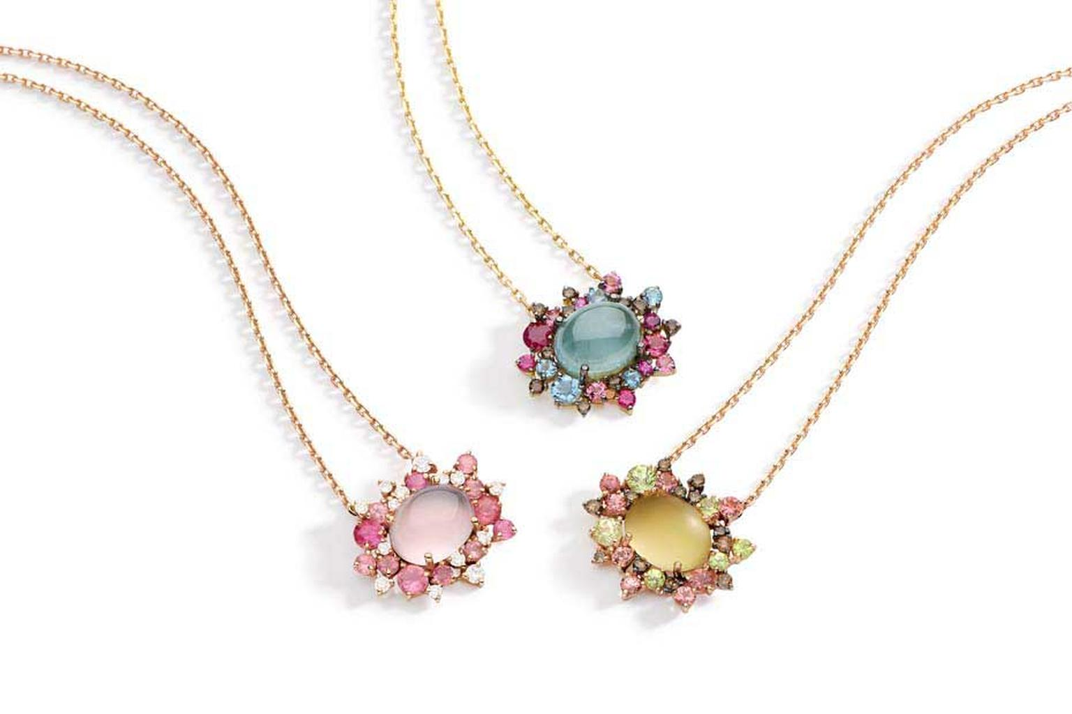 Brumani Baobab collection necklaces in yellow gold features a trio of colour combinations, including round brown and white diamonds, aquamarine, rose, smoky and lemon quartz, ruby, pink tourmaline and mandarin garnet.