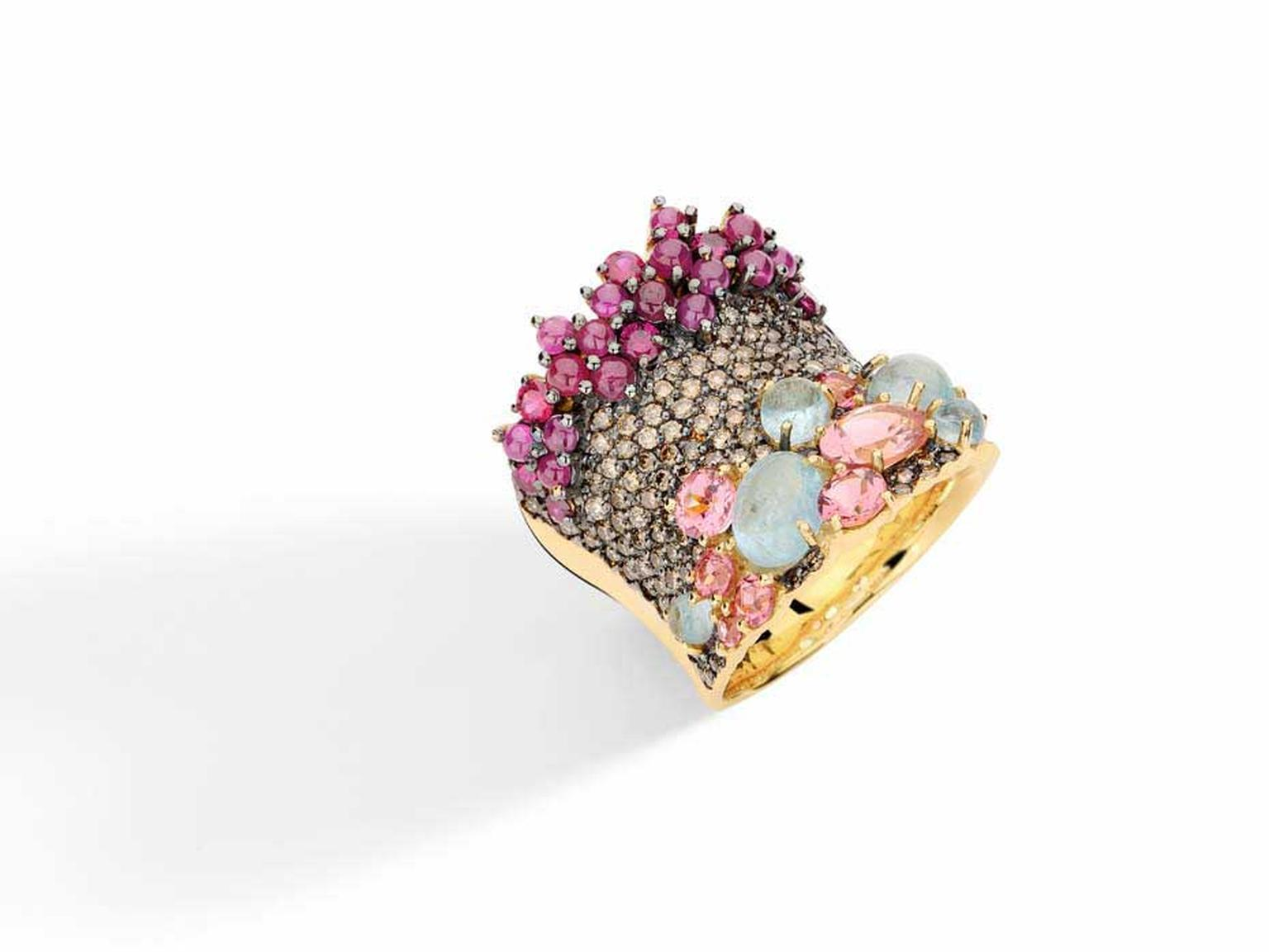 Brumani Baobab collection yellow gold ring with brown diamonds, aquamarines, rubies and pink tourmalines.
