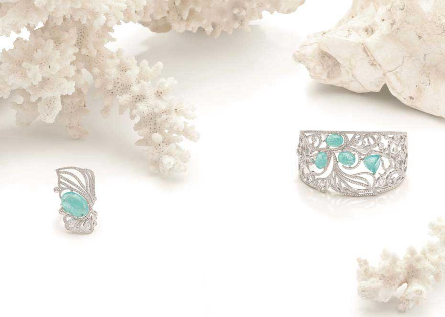 Boodles Atlantic Blue cuff and ring with Paraiba tourmalines and diamonds, from the new 'Ocean of Dreams' collection.
