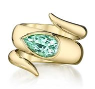 Erica Courtney green tourmaline wrap ring in gold.