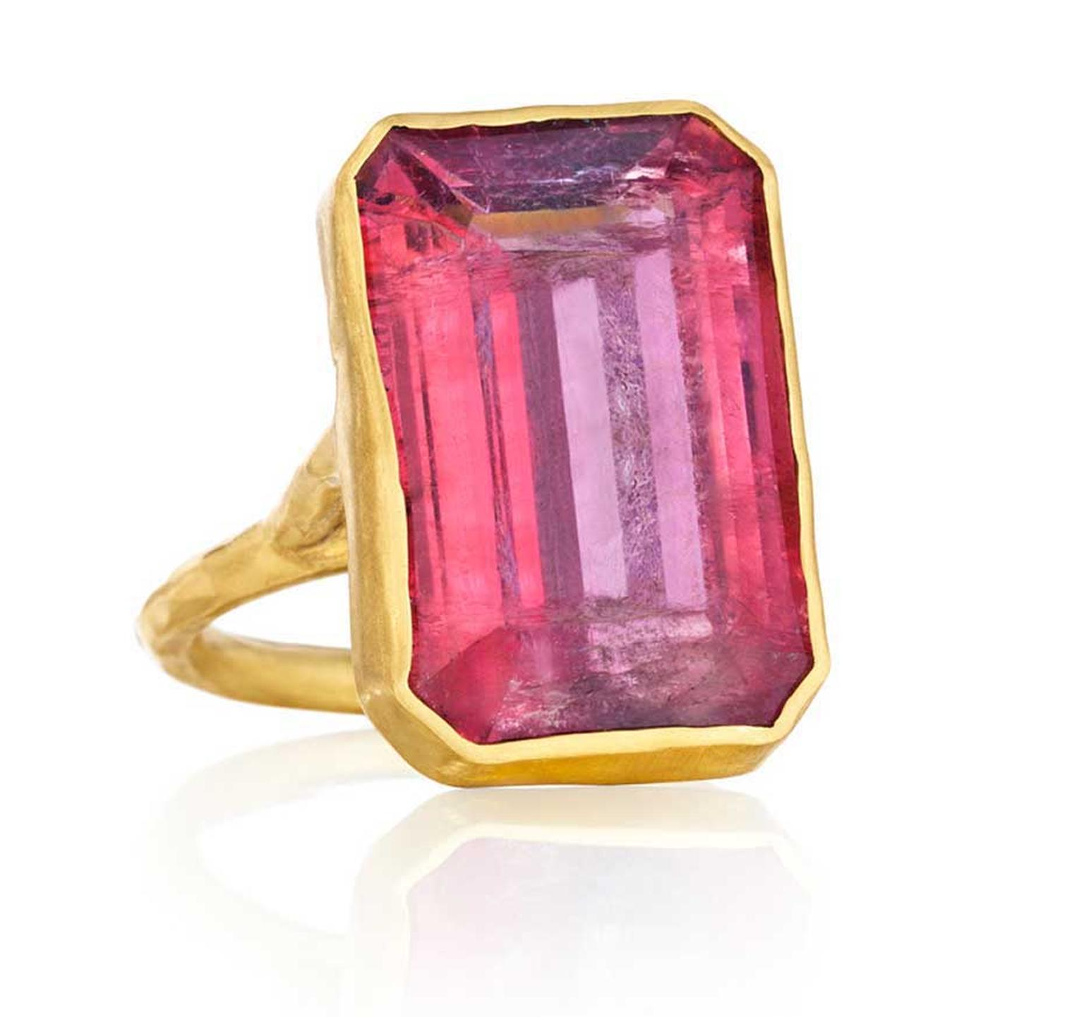 One-of-a-kind gold Margery Hirschey pink tourmaline ring.