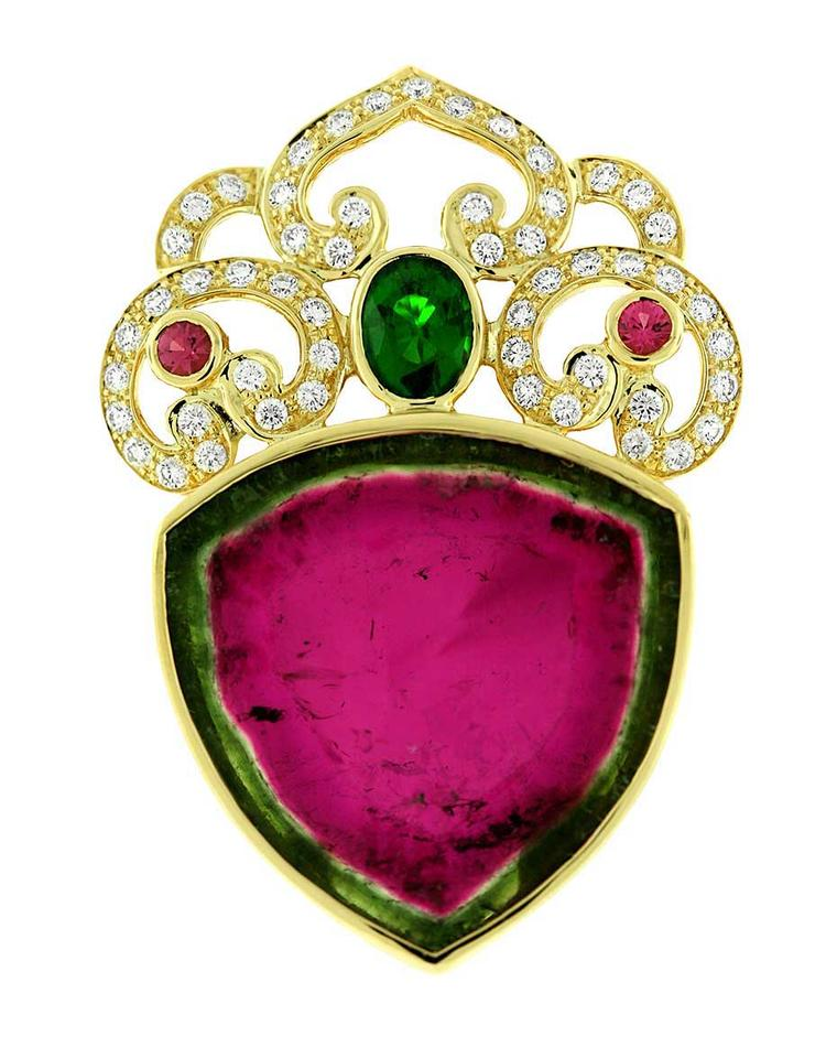Paula Crevoshay Nature's Heart pendant in gold, with a 51.05ct watermelon tourmaline, tsavorite, pink tourmalines and diamonds.