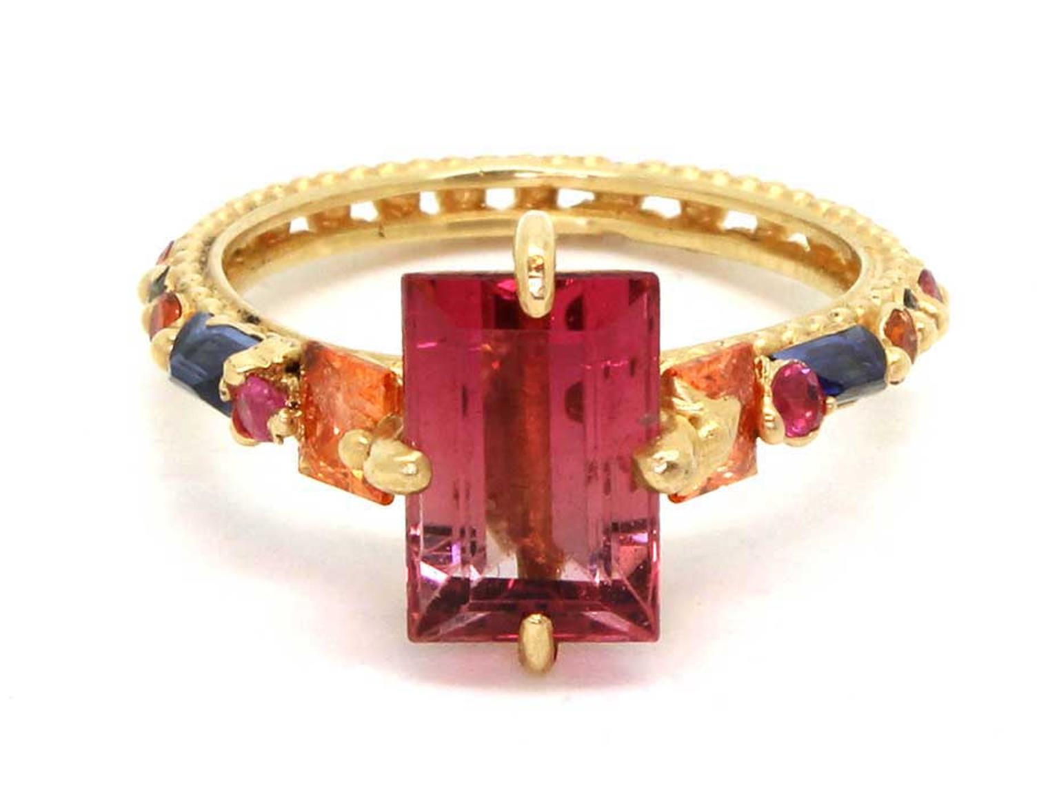 Polly Wales faded pink tourmaline ring with orange, pink and blue sapphires.