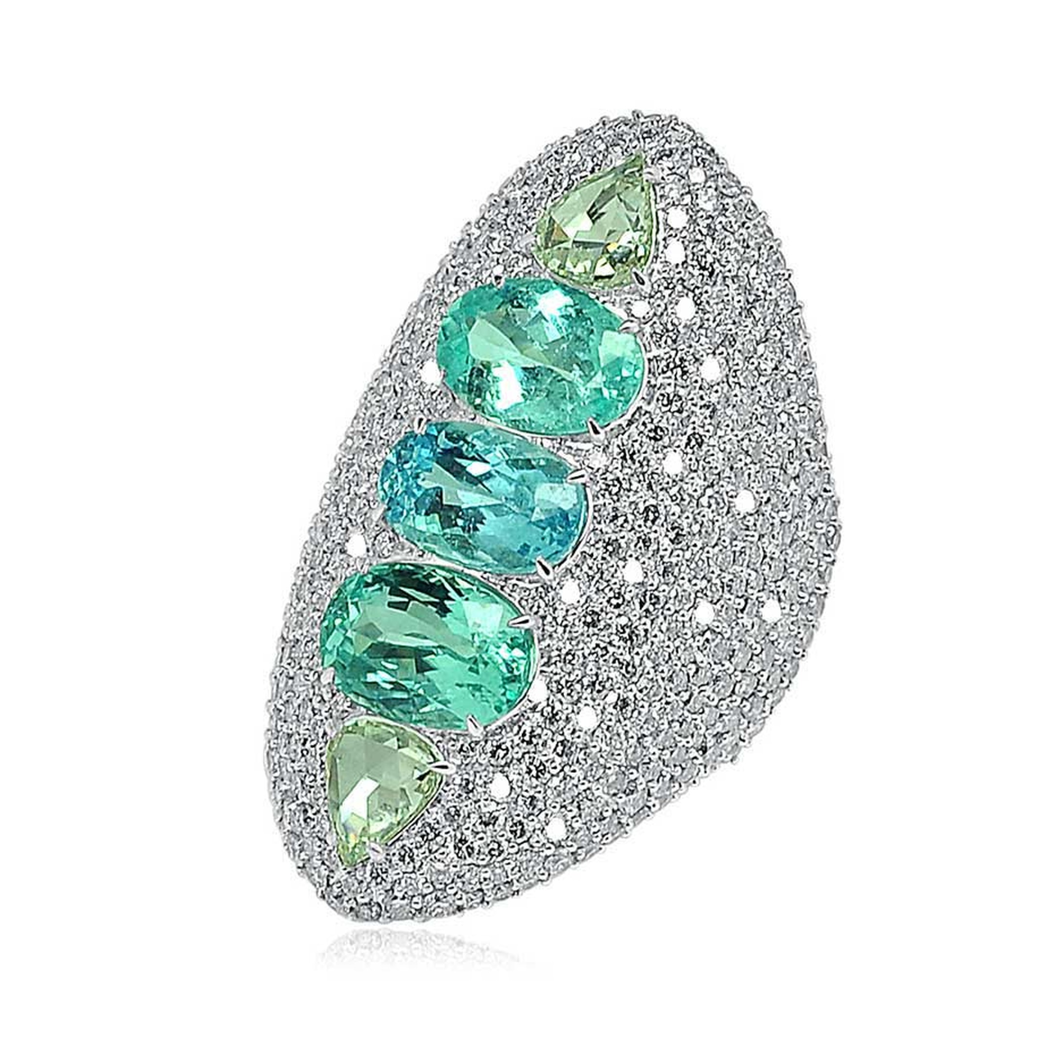 Sutra multi-coloured Paraiba tourmaline ring in white gold with diamonds.