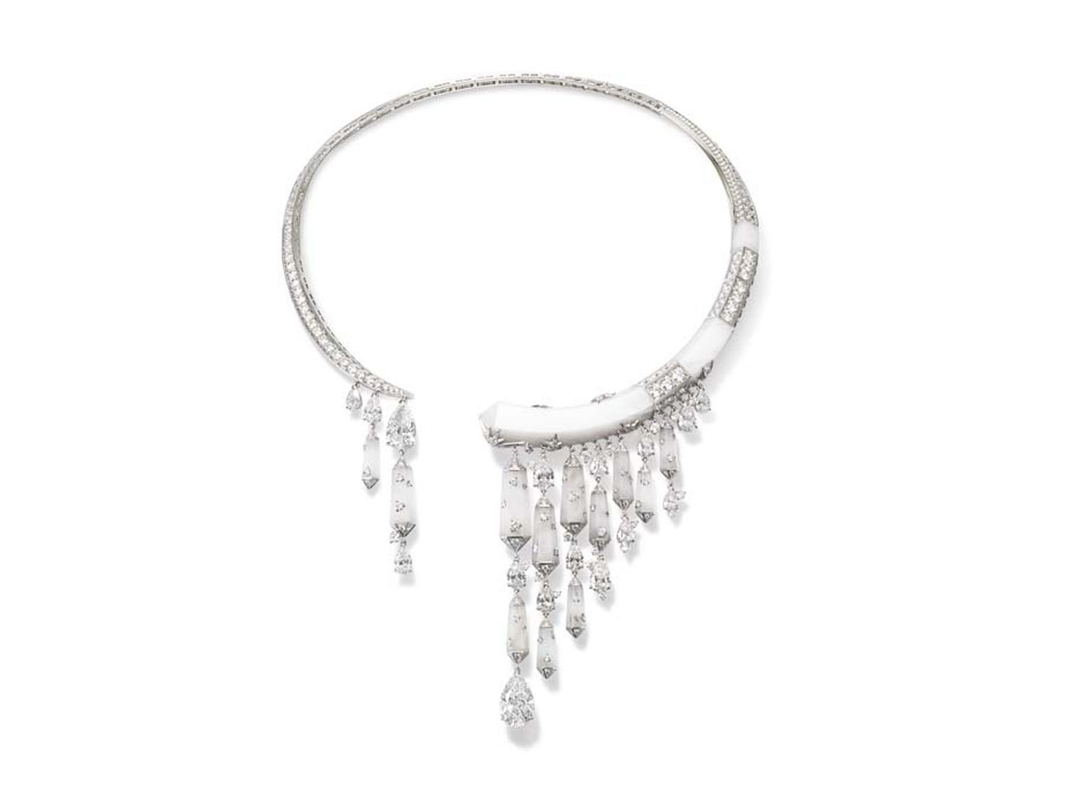 Chaumet Lumieres d'Eau high jewellery necklace in white gold and platinum, set with frosted rock crystal and over 9ct of diamonds.