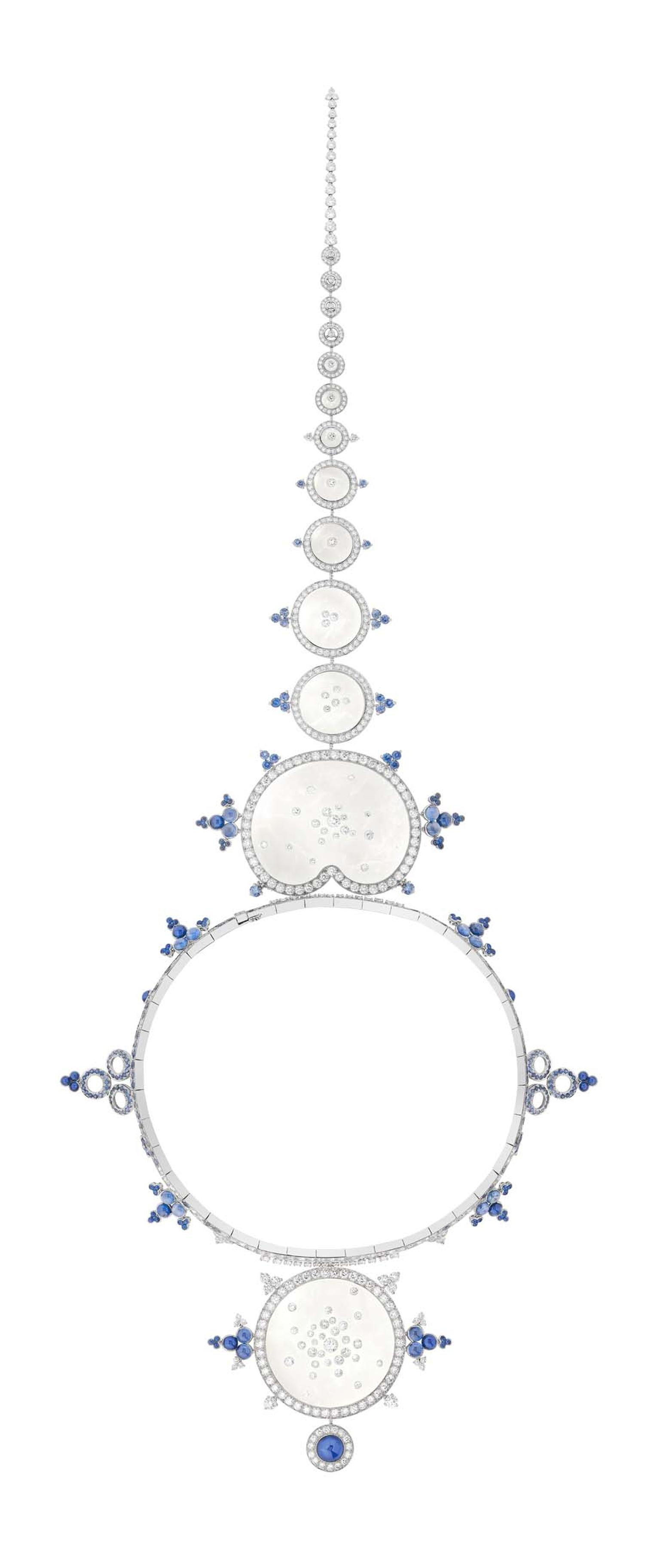 Boucheron Rives du Japan Ricochet brooch with rock cystral, sapphires and diamonds.