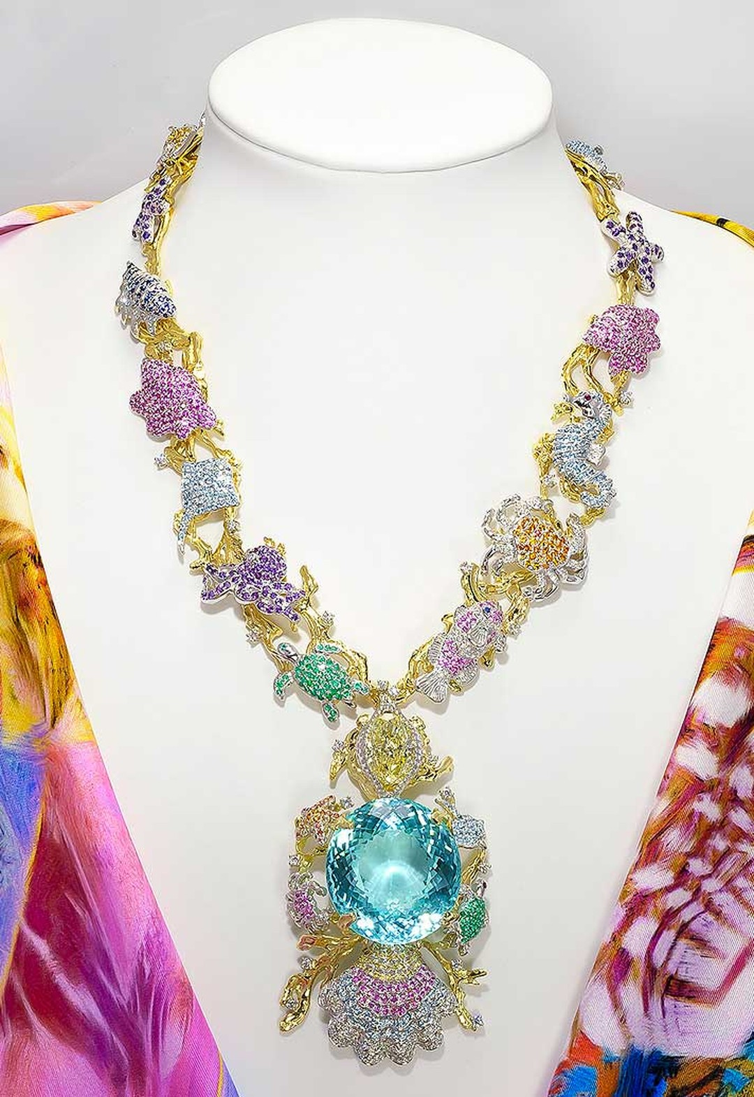 The 'Ethereal Carolina Divine Paraiba', at 191.87ct the world's largest cut Paraiba tourmaline, has been set into a one-of-a-kind Paraiba Star of the Ocean Jewels' necklace designed by Canadian jewellery house Kaufmann de Suisse.