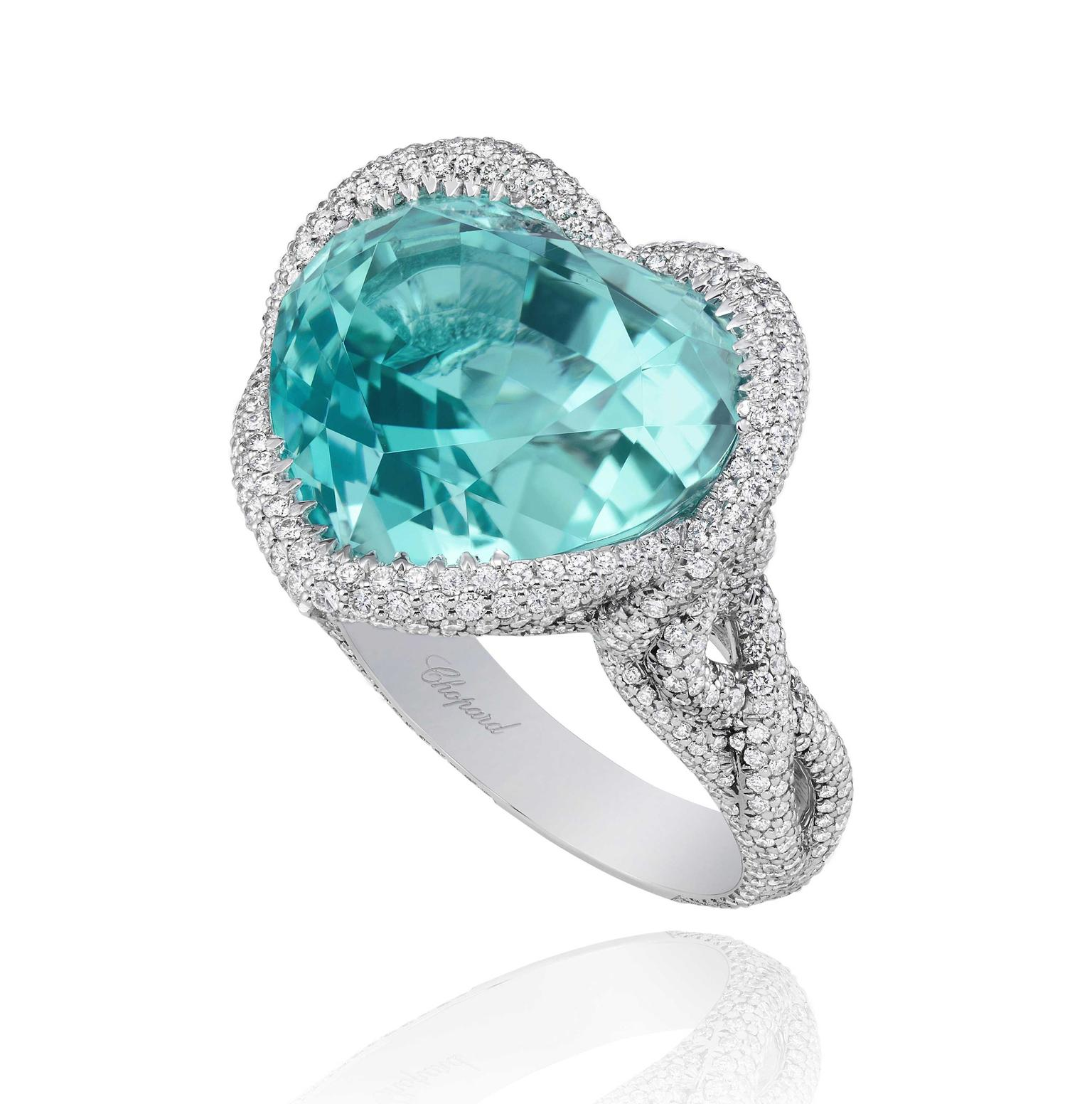 A bright, attention-seeking heart-shaped Paraiba tourmaline is the centrepiece of this ring from Chopard's 2013 Red Carpet collection.