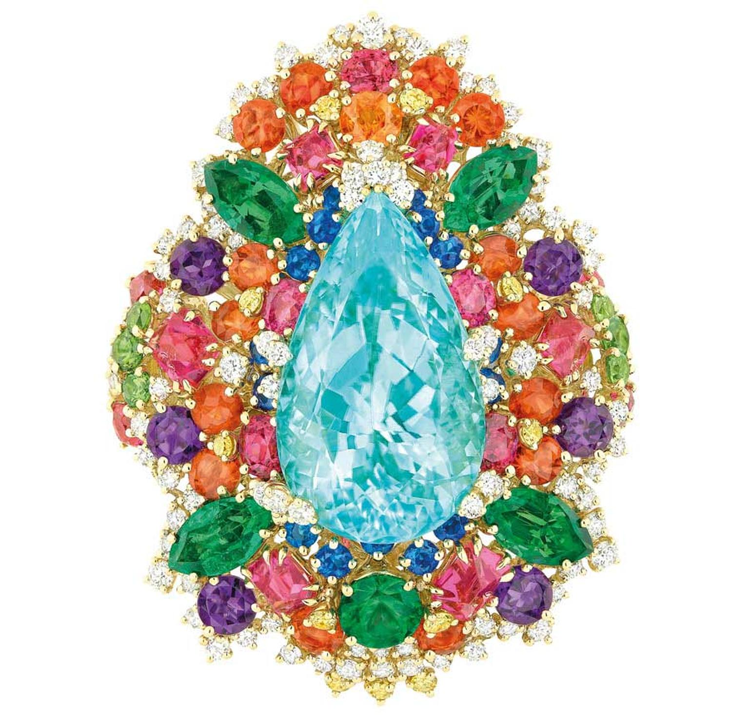Dear Dior Dentelle Chantilly Multicoloured ring, starring a magnificent central Paraiba tourmaline.