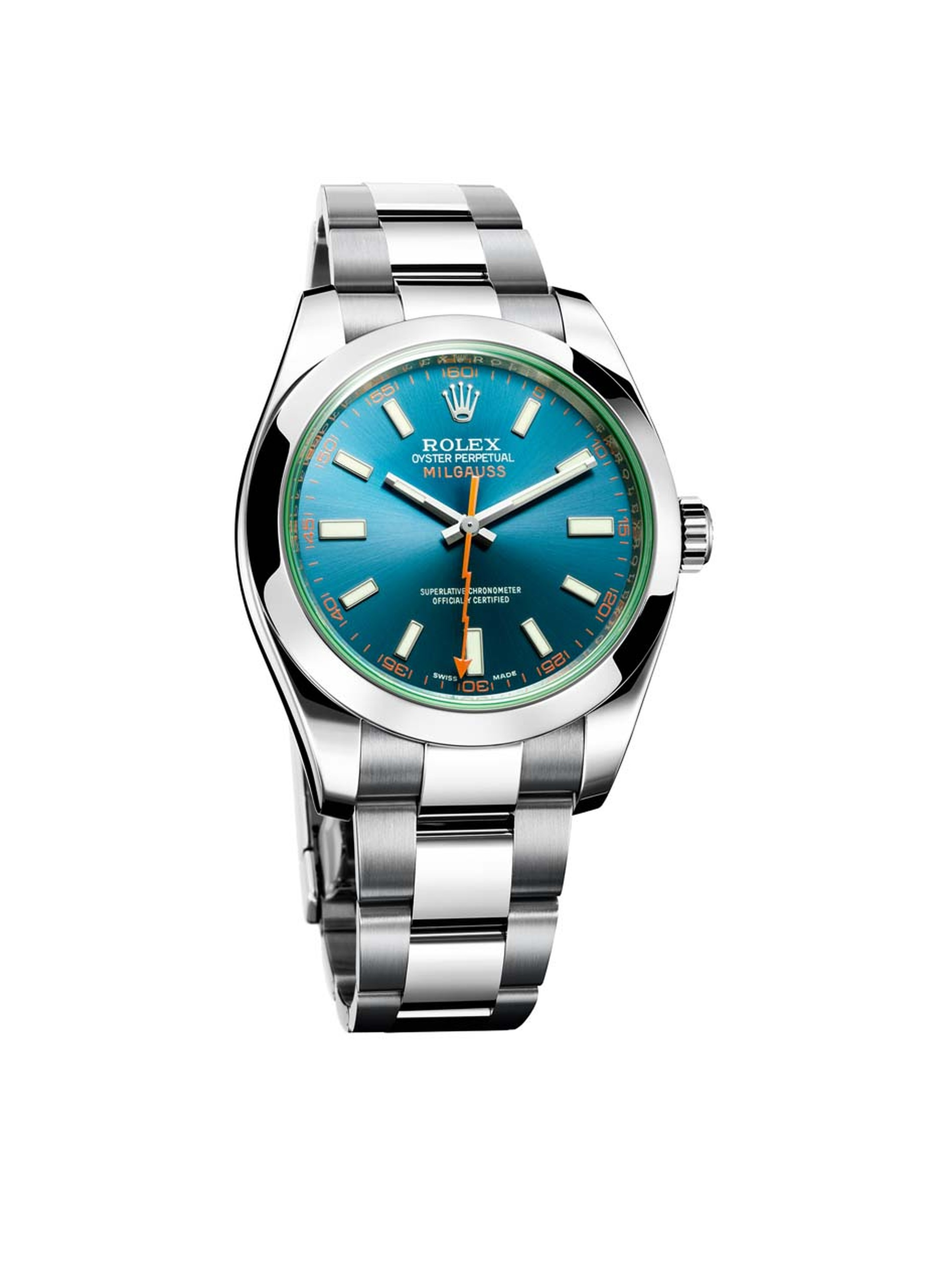 Launched in 2014, the new Rolex Milgauss Z-blue watch has a deep turquoise sunburst dial and trademark glace verte green sapphire crystal.