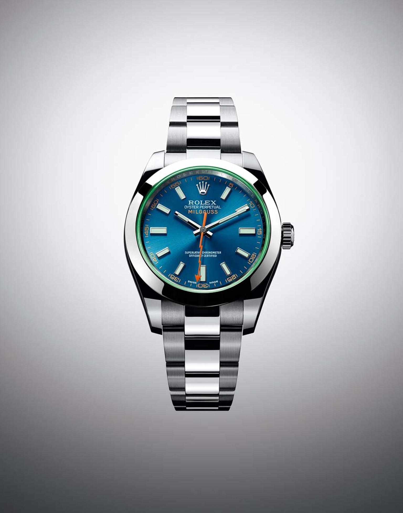 The new Rolex Milgauss Z-blue watch, with its distinctive turquoise dial, has the same technical specs as previous Rolex Milgauss watches, including a 904L stainless steel superalloy case and an antimagnetic shield that protects the automatic movement fro