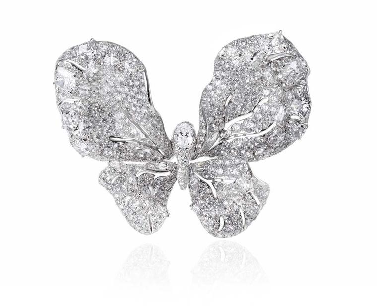 Cindy Chao 10th anniversary White Label collection Butterfly brooch in white gold and diamonds.