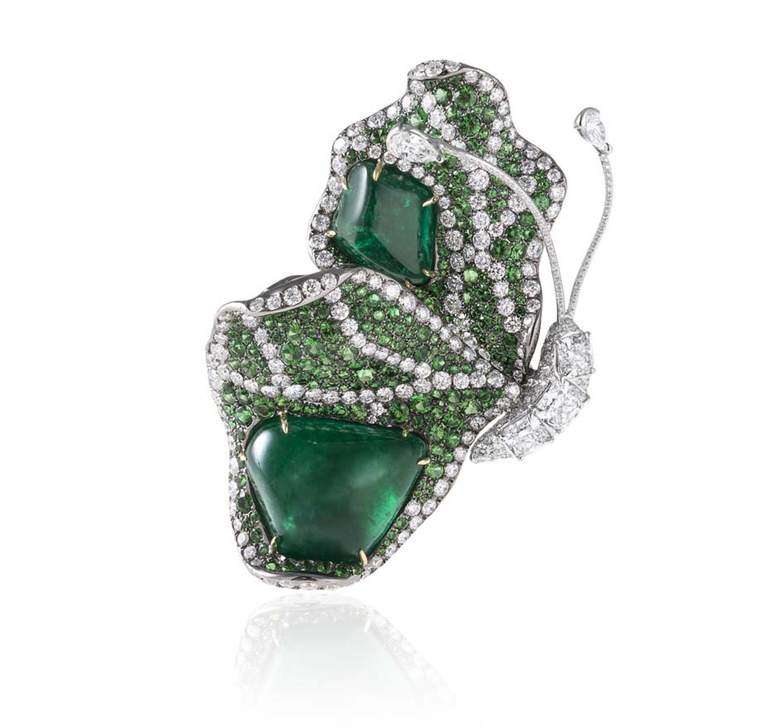 Cindy Chao 10th anniversary White Label collection Butterfly brooch in white gold with emeralds, tsavorites and diamonds.