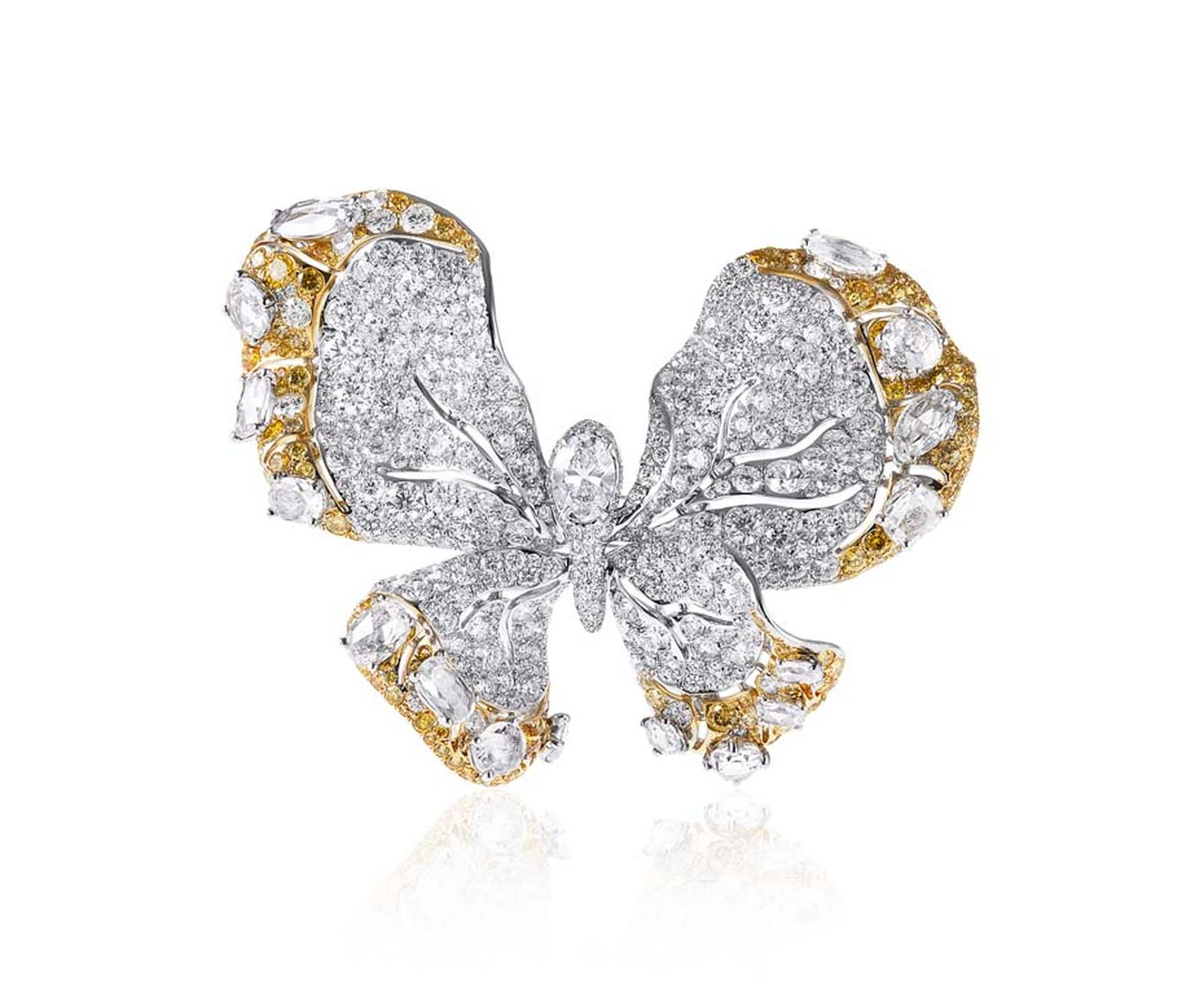 Cindy Chao 10th anniversary White Label collection Butterfly brooch in white gold with yellow and white diamonds.