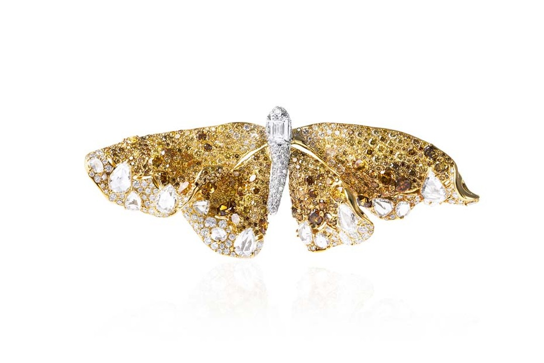 Cindy Chao 10th anniversary White Label collection Butterfly brooch in yellow gold with yellow and white diamonds.