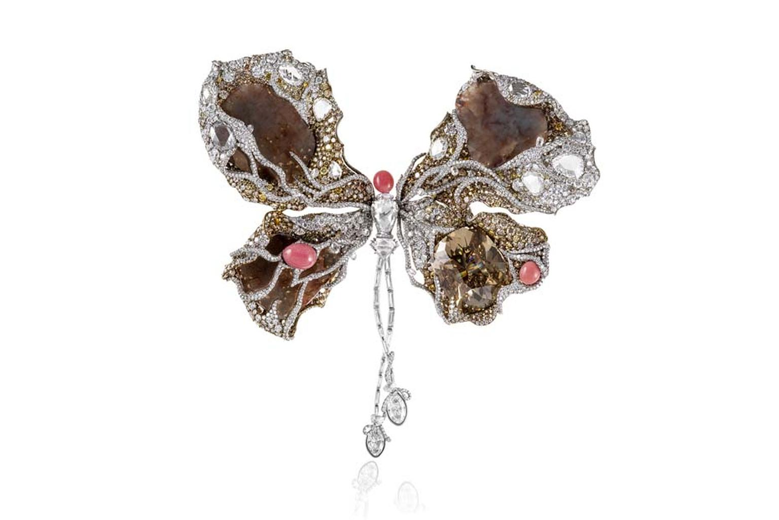 Cindy Chao gold and titanium 2014 Black Label Masterpiece Ballerina Butterfly brooch, designed in collaboration with Sarah Jessica Parker. The brooch features a 26.27ct cushion-cut fancy brown diamond as well as three rough brown diamond slices totalling