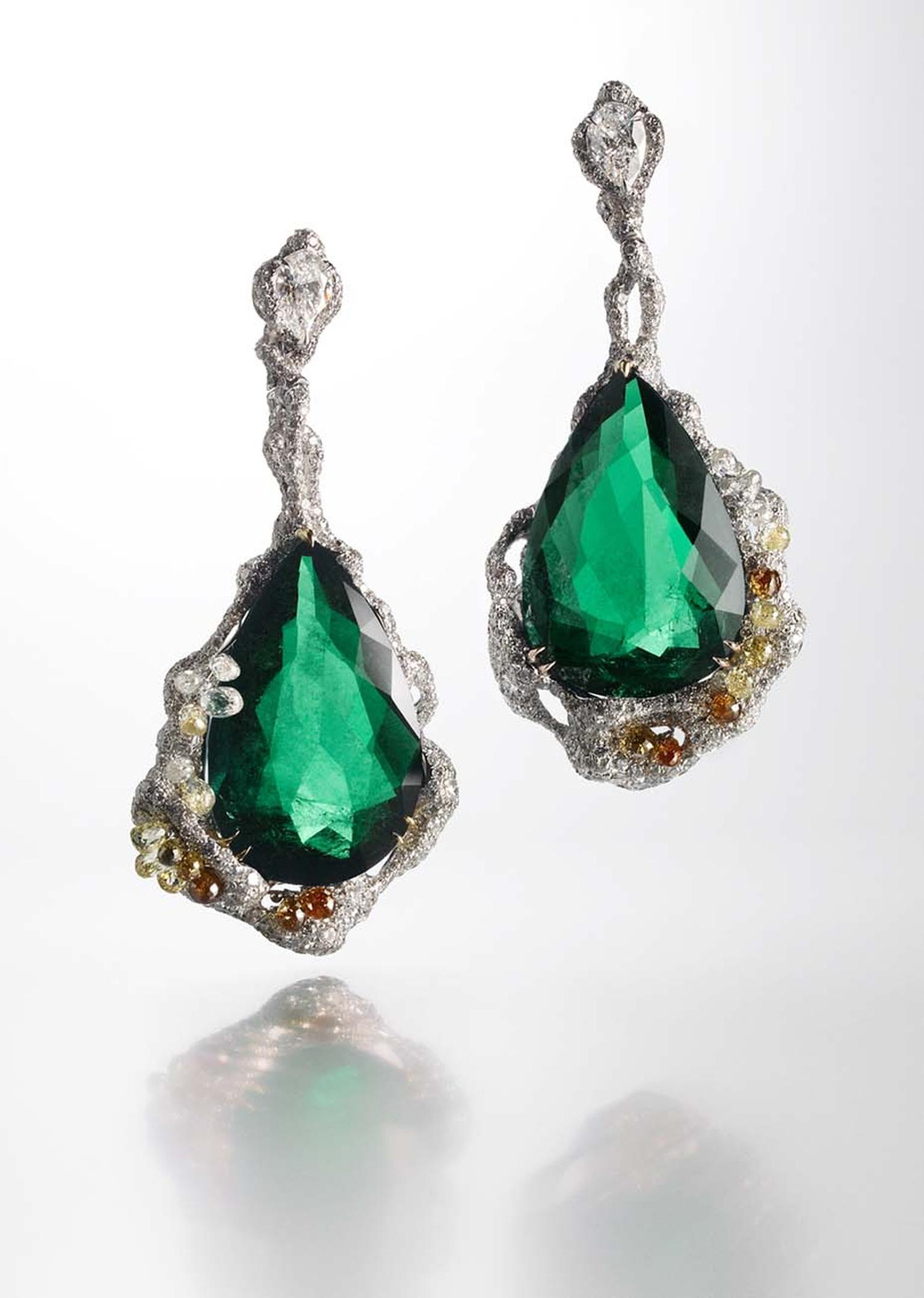 Cindy Chao Black Label Masterpiece emerald drop earrings.