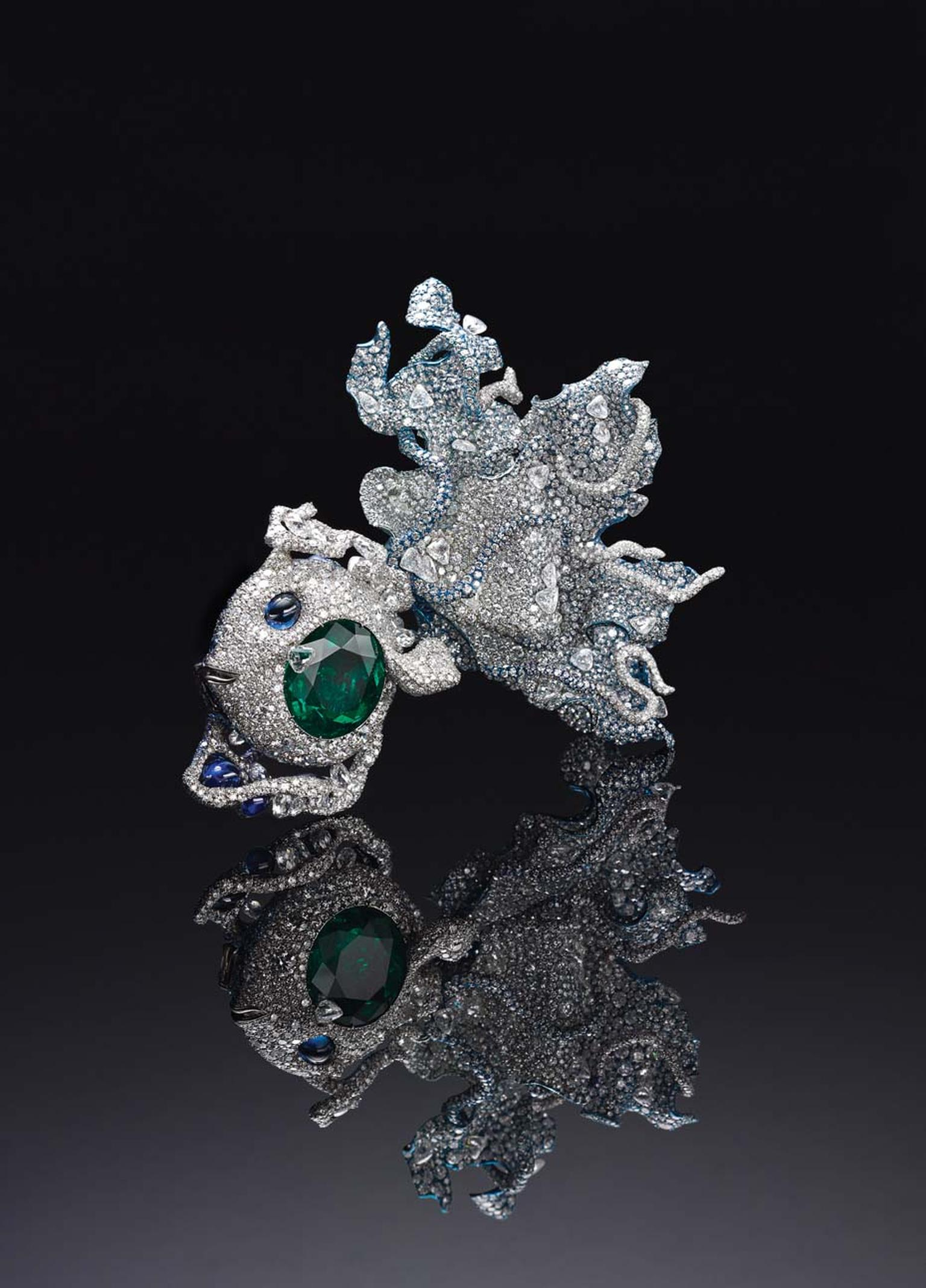 Cindy Chao Black Label Masterpiece Puffer Fish brooch featuring Colombian emerald cheeks and an undulating tail, with 5,000 diamonds set at every angle.