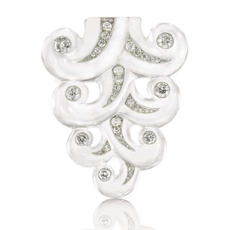 This diamond and rock crystal Suzanne Belperron brooch with iconic scrolls was often worn by the iconic designer. It sold for 302,500 CHF, more than four times its high estimate of 72,000 CHF, at Sotheby's Geneva in 2012.
