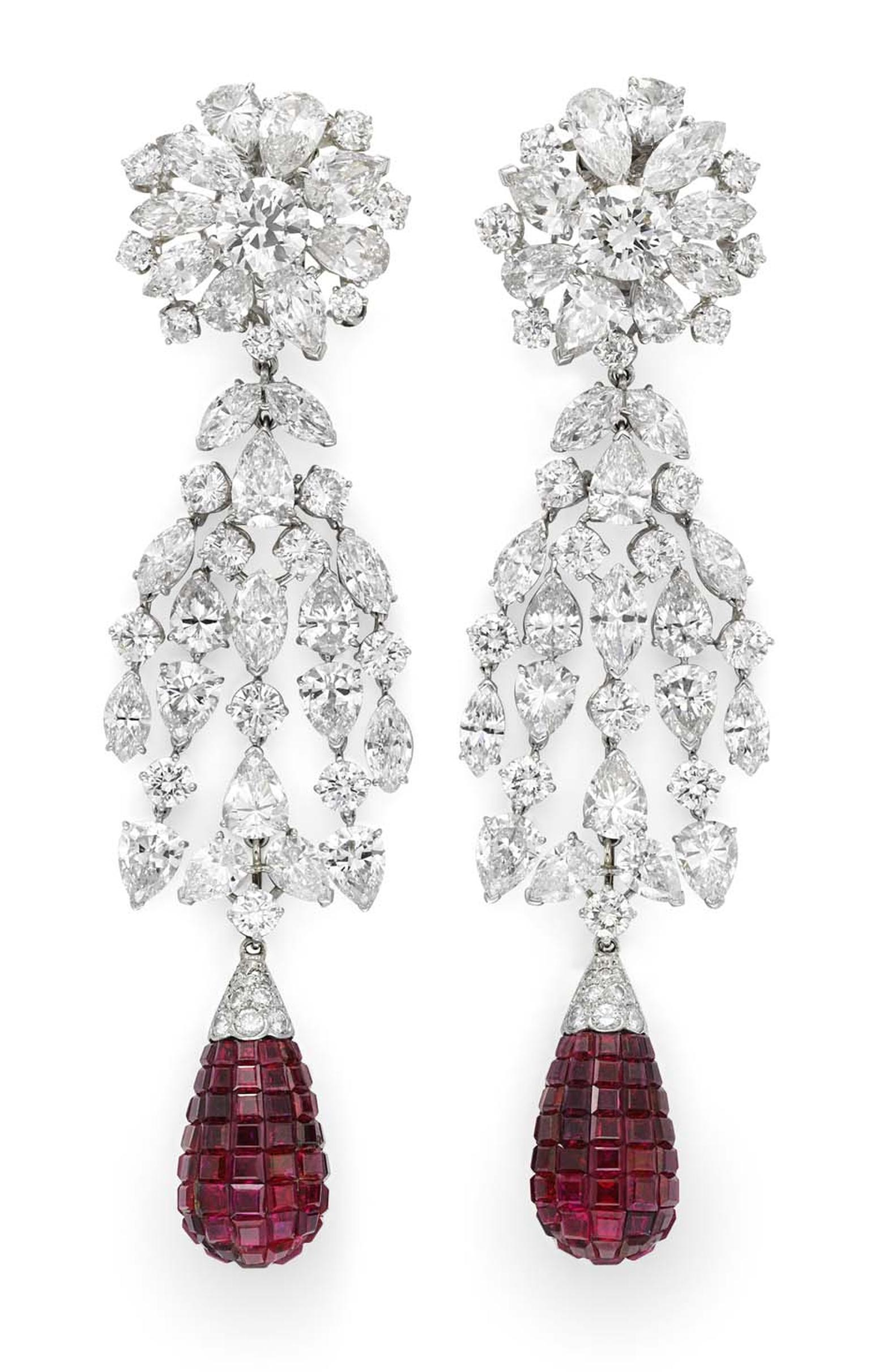 Pair of invisibly set ruby and diamond cascade earrings by Van Cleef & Arpels, available at Simon Teakle.
