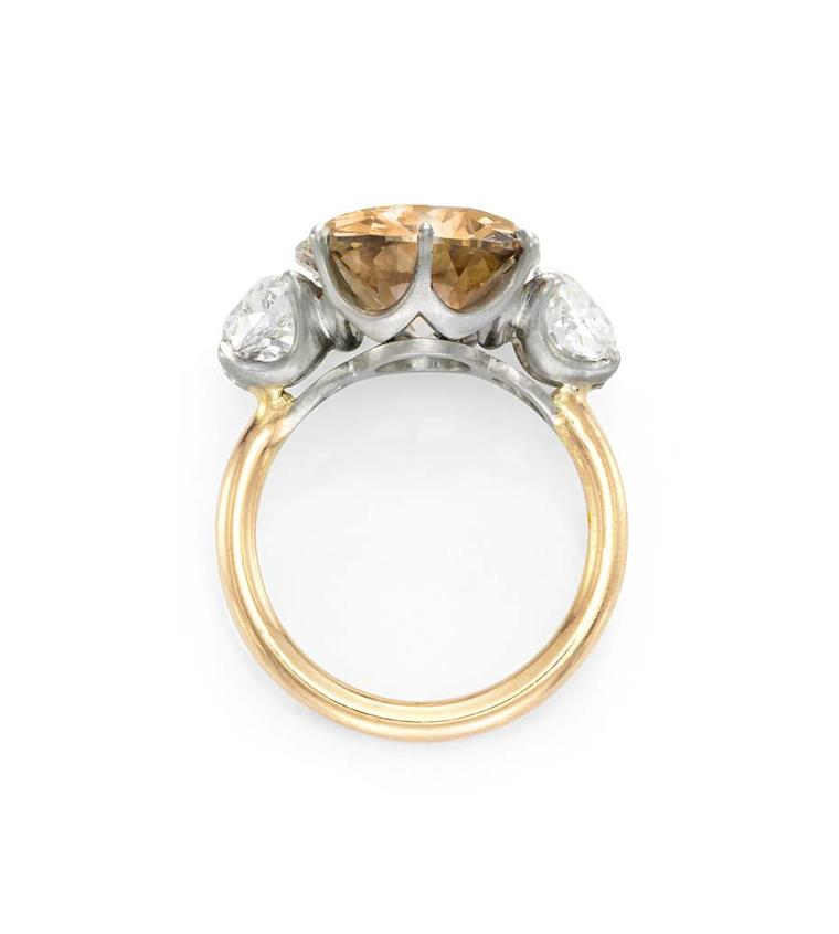 Simon Teakle 7ct orange-brown diamond ring.