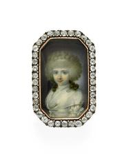 Antique English miniature portrait and diamond ring circa 1790, available at Simon Teakle.