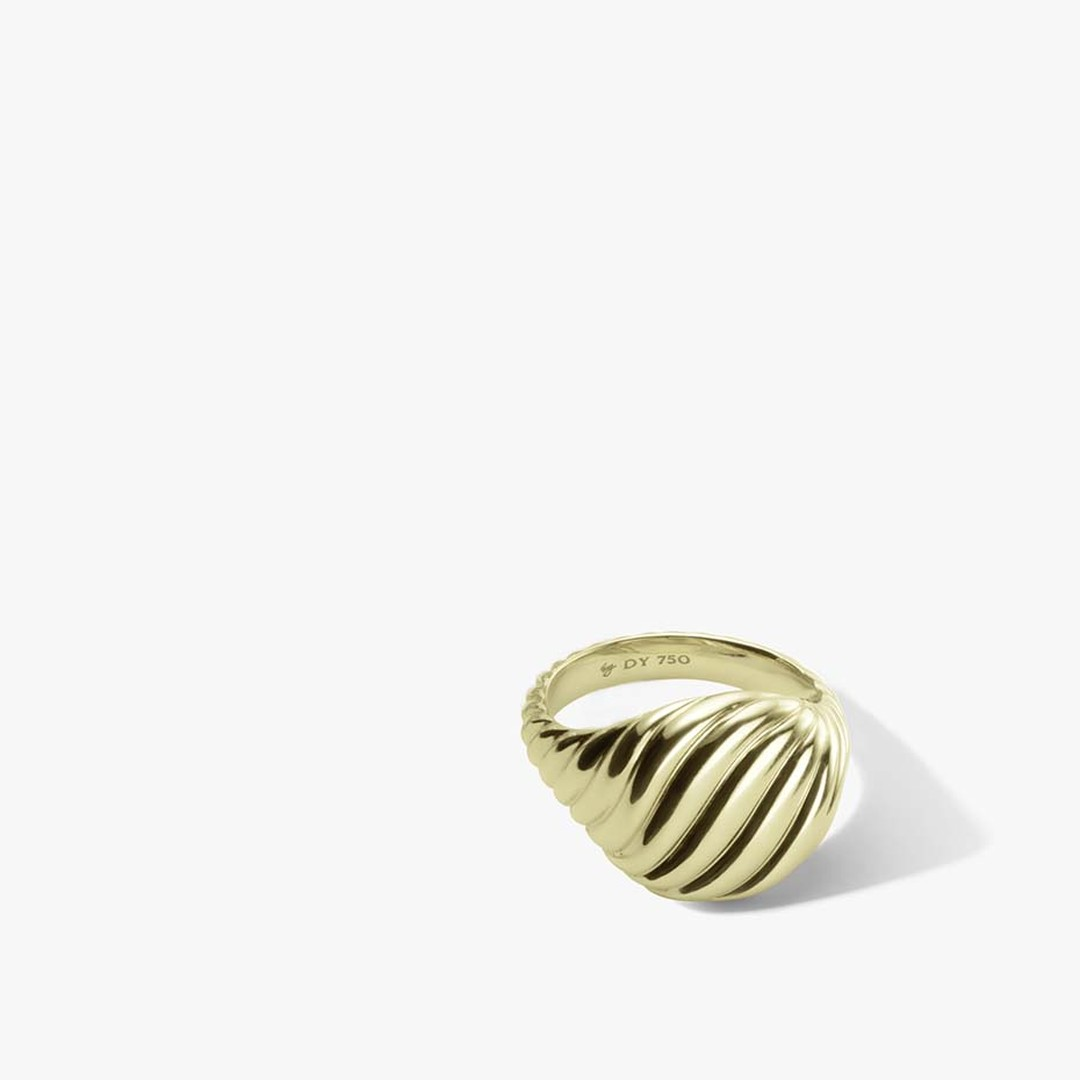 David Yurman gold Sculpted Cable pinky ring ($1,950), as featured in the fall 2014 ad campaign.