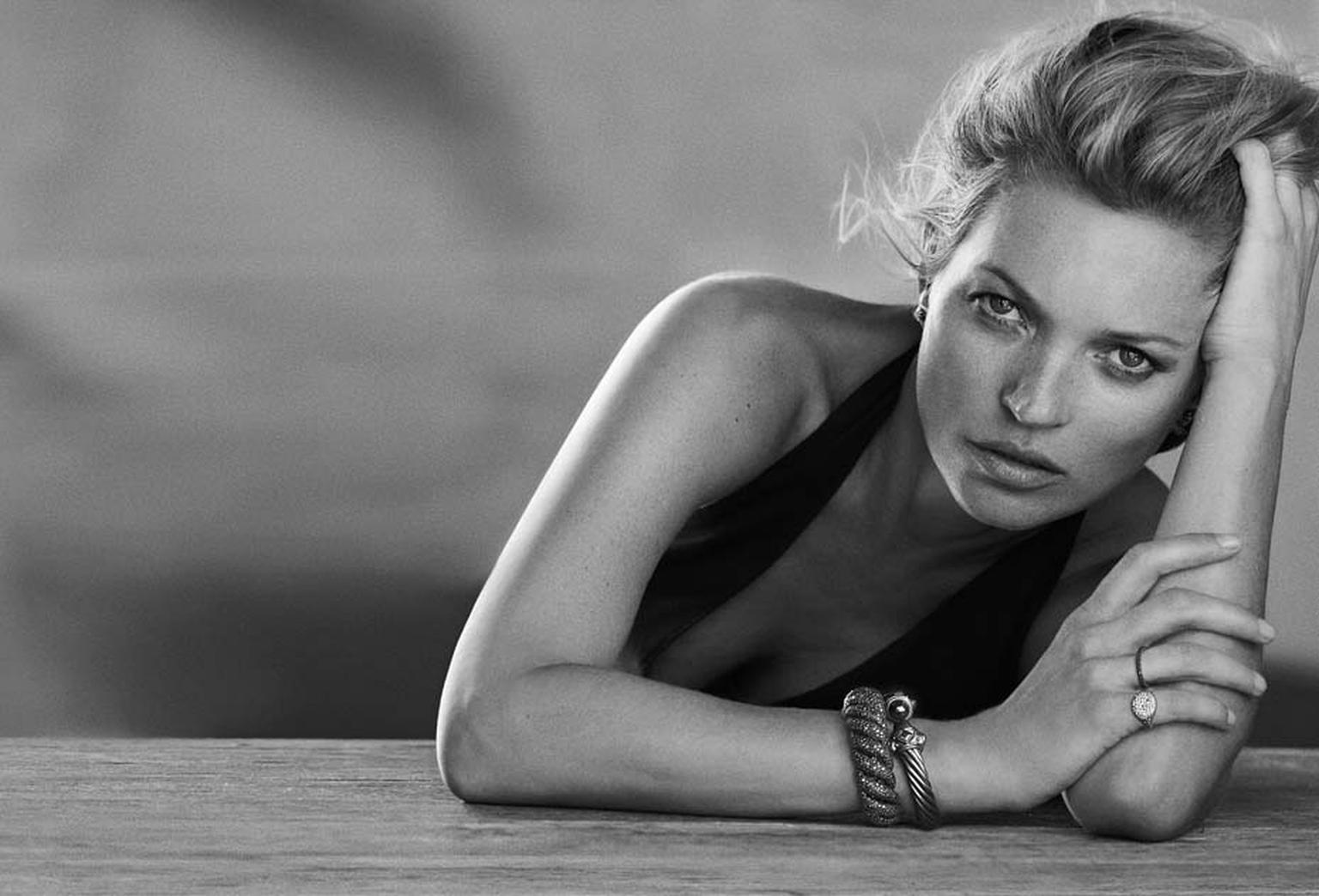 Kate Moss captured in David Yurman's fall 2014 advertising campaign, Enduring Style, in which she wears some of the American jeweller's most iconic pieces.