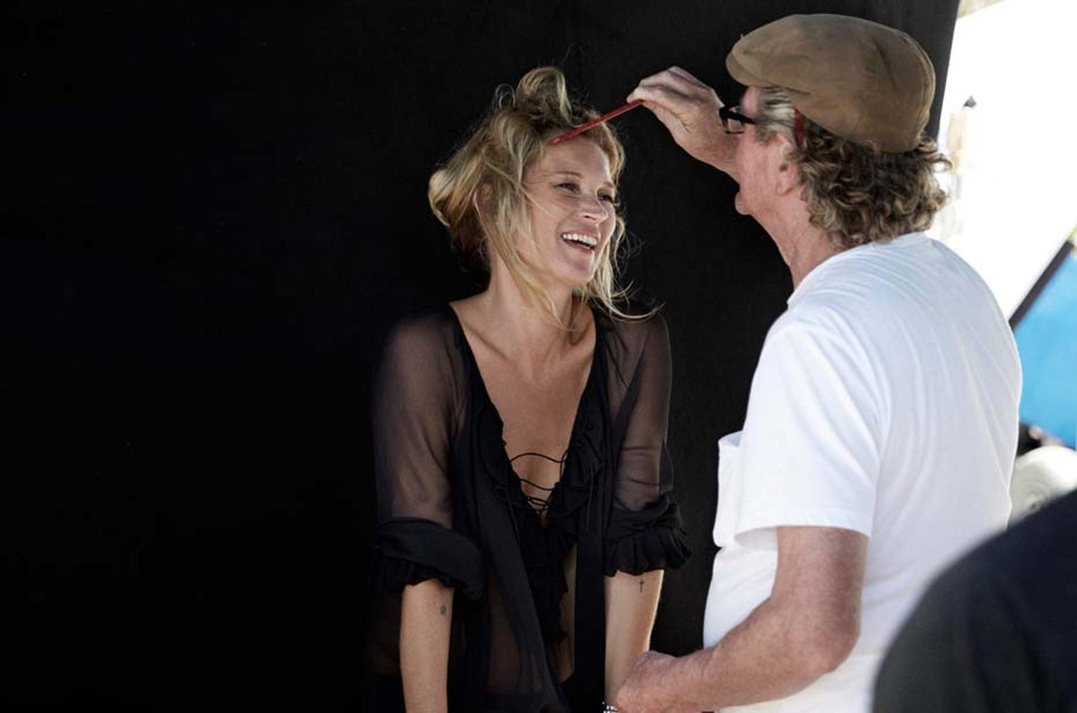 On shoot for David Yurman's 2014 campaign, Enduring Style, with supermodel Kate Moss, who is all smiles for fashion photographer Peter Lindbergh.