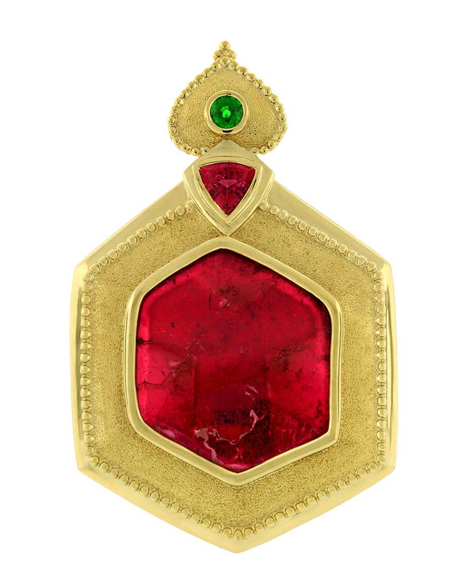 One-of-a-kind Paula Crevoshay pendant in gold, set with a 35.67ct tourmaline, a 1.95ct tourmaline and a tsavorite.